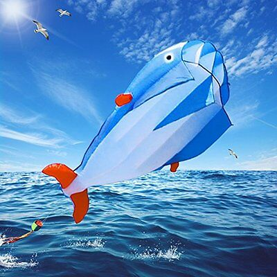 Hot 3D Blue Huge Frameless Soft Parafoil Giant Dolphin Kite With 30m line