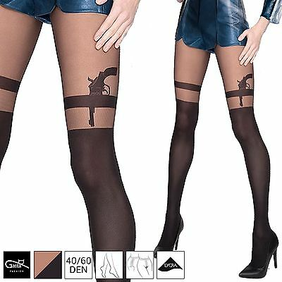 gatta pistole tattoo feinstrumpfhose damen str mpfe lycra strumpfhose muster sml eur 9 49. Black Bedroom Furniture Sets. Home Design Ideas