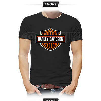 HARLEY DAVIDSON Motorcycle Sports Wheels Racing Rider Biker Black T-Shirt
