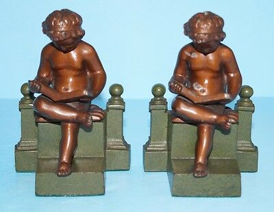 ANTIQUE CHILD READING CAST IRON BOOKENDS METAL ART SCULPTURE JUDD CIRCA 1920's
