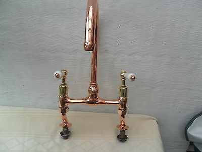 Brass Antique Reclaimed Swan Neck Copper Plated Kitchen Mixer Taps Old Mixer