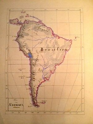 HANDDRAWN MAP of SOUTH AMERICA, seems to be very old, Original!!!