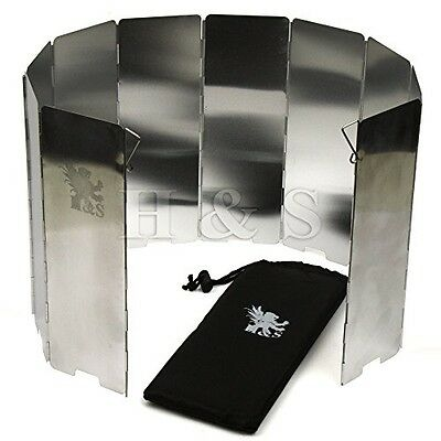 H and S 10 Plates Foldable Outdoor Camping Cooker Gas Stove Wind Shield