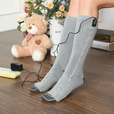 Battery Heated Socks High Tube Feet Foot Warmer Heater Insoles Warm New Electric