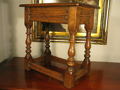 Antique Vintage C17th Style English Oak Joint Stool Carved Joynt