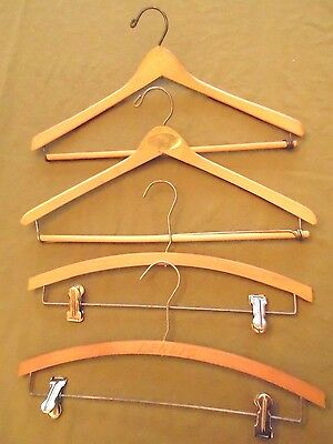 """Lot of 4- Vintage Mixed Wood Hangers for Suit coat and Pants/skirt, Sturdy 18"""""""