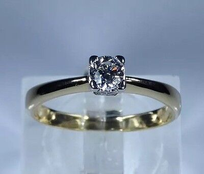 18k Gold 0.27ct Diamond Solitaire Engagement Ring Size L+1/2 rrp £1495