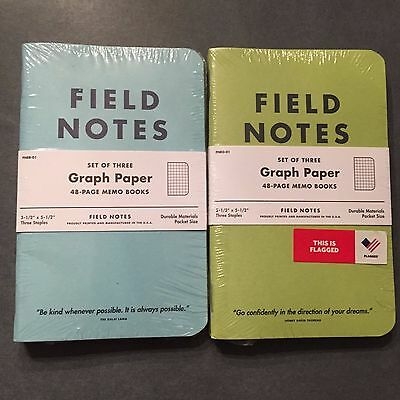 """FIeld Notes JCP JC Penny """"Flagged by Ellen"""" Blue AND Green. Sealed sets. Sticker"""
