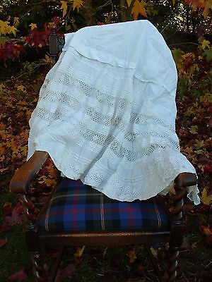 Antique Linen Lace Skirt Victorian Costume Vintage Clothing