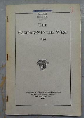 Usma West Point Booklet - The Campaign In The West 1940 #bk432