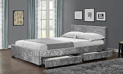 4 Drawer Storage Bed Frame Double King Crushed Velvet Black Silver Mattress NEW