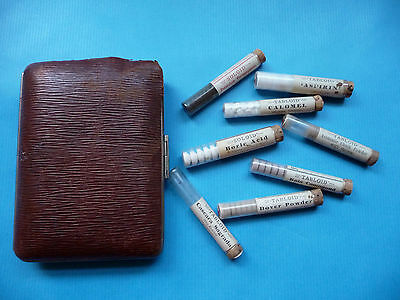 Antique Leather Case Containing Pills MedicineTablets