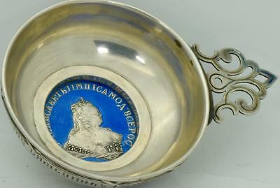 MUSEUM Imperial Russian Faberge silver&enamel Officer award Kovsh.Cathrine coin