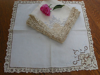 set of 12 Antique Needle Lace Point de Venice Embroidered Napkins  Italy, 21.5""