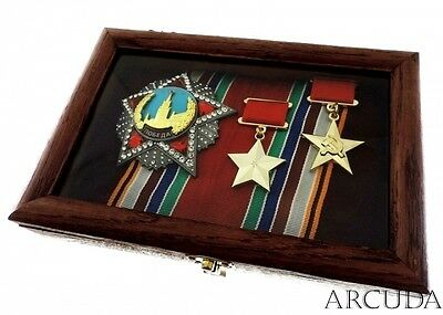 "Order ""Victory"" and ""2 Hero of the USSR"" in a wooden case. Excellent copy"