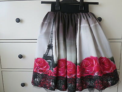 Love Made Love Girls Party Flared Skirt Parisian Themed 140 cm 9-10Y