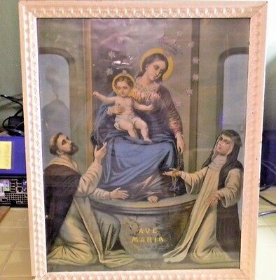 Antique German Artist Fridolin Leiber Ave Maria religious Lithograph print