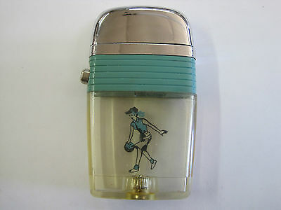 Nice vintage Scripto Vu Lady bowler teal green aqua band sparks great Very clear