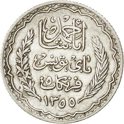 [#75163] TUNISIA, 5 Francs, 1934, Paris, KM #261, AU(50-53), Silver, 4.97