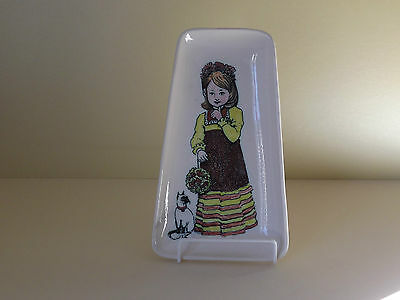 Vintage Honiton Pottery Dish ~ Girl & Cat (L62)