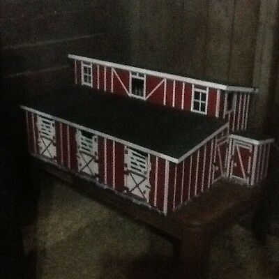 Model Horse Barn/stable Custom Made Red With White Trim & Black Roof