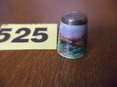 Vintage Solid Silver & Enamel Thimble with Anne Hathaways Cottage - James Swann