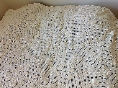Antique Hand Crocheted Popcorn & Applique Coverlet White Bedspread From Estate