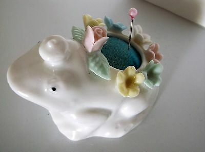 Ardalt Pin Cushion Frog Prince White Pink Yellow Green Floral Vintage Japan 3""