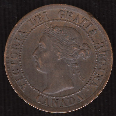 Canada 1894 Large One Cent KM 7 EF XF Canadian Coin Victoria Better Date