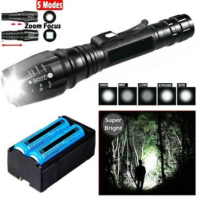 90000LM Rechargeable Flashlight Tactical Powerful T6 LED Torch+18650Batt+Charger