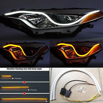 2X60CM Car Flexible DRL LED Knight Rider Strip Light Headlight Sequential