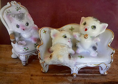 Kitsch 1950s stucco ornamental cats on Regency armchairs made in Japan
