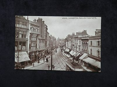 Old Photochrom Postcard of Leicester: Gallowtree Gate, showing Newman's Pipes