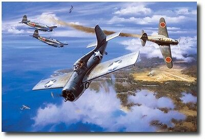 """""""First Marine Ace"""" by Roy Grinnell WW II co-signed by Marine Ace Marion Carl"""