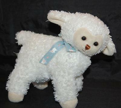 "White Lamb 9 x 7""  2000 Princess Soft Toys Blue Sheep Ribbon  Plush Stuffed  Toy"