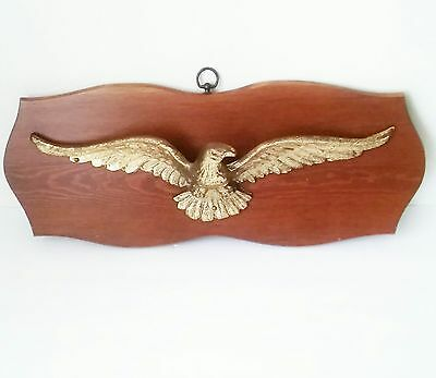 """Vintage Large Cast Brass American Bald Eagle Wall Mount on Wood Plaque 22"""""""