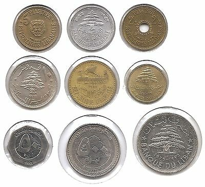 Lebanon Lot of 9 Coins 2 1/2, 5, 10 Piastres & 1, 50, 500 Livres (1952 - 1996)