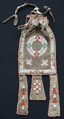 Circa 1890 Plains Indian Beaded Tab Pouch Sinew Sewn On Deer Hide Whitehearts!