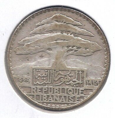 Lebanon Silver 1929 25 Piastres (KM7) Only 600,000 Minted Cedar Tree!