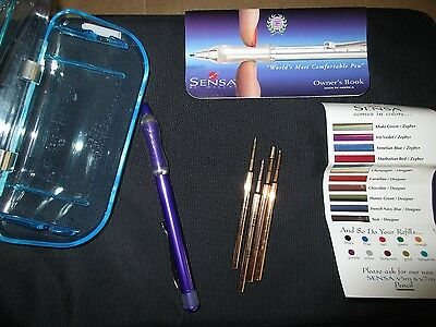Vintage  SENSA comfort grip Iris Violet Zephyr Ball point Pen with color refills