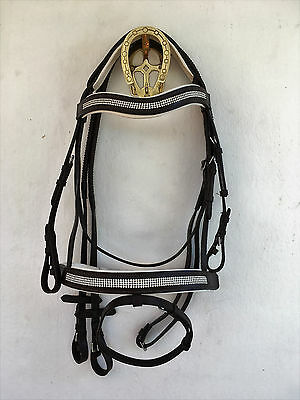 Lovely Diamonte Leather Comfort Bridle With White Padding Pony,cob,full,xfull.