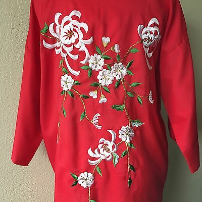 Vintage Japanese Red Embroidered Floral Kimono Robe with Belt