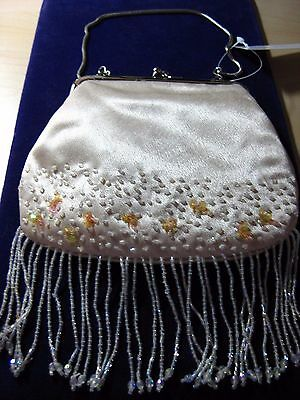 "Small Champagne Satin Beaded Evening Purse with Beaded Fringe - 5"" x 6"""