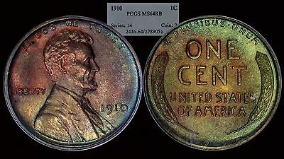 1910 Lincoln Wheat Cent Penny PCGS MS64 RB Red Brown Toned Color