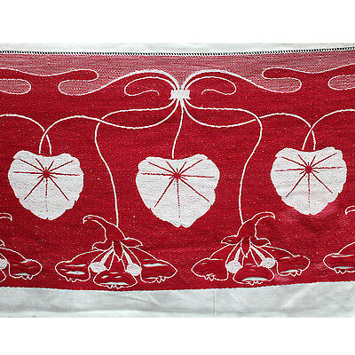 Vintage Antique Turkey Red Tablecloth Cutter, Art Nouveau, Water Lily Damask
