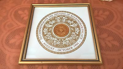 To Commemorate The Opening Of Buckingham Palace Medallion 1994 ~ Framed