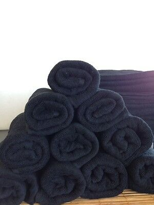 Hairdressing Towels Black Cotton pack of 10