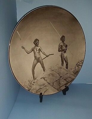 Aborigines with Hunting Weapons Royal Doulton display plate D.6410 26.5 cm diam.