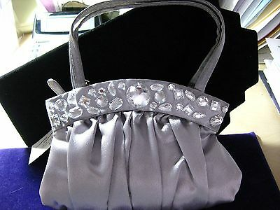 """Petite Silver Satin Evening Wrist Purse with large clear beads - 8.5"""" x 5.5"""""""