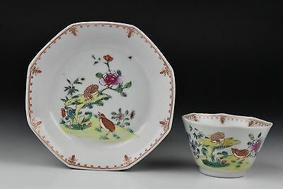 18th Century Antique Chinese Famille Rose Porcelain Cup & Saucer